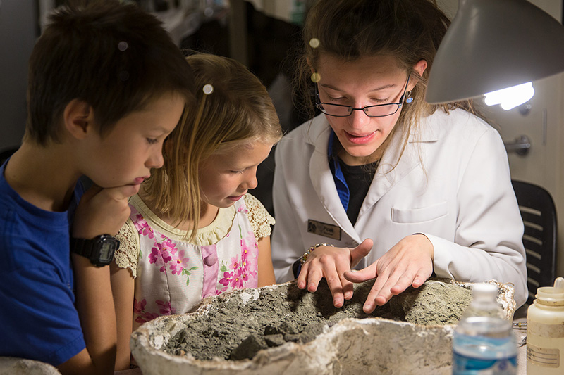 A museum volunteer shows a fossil to two children.