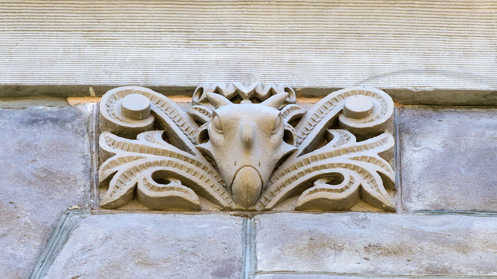 A stone carving of Kosmoceratops on the City County building in Salt Lake City.