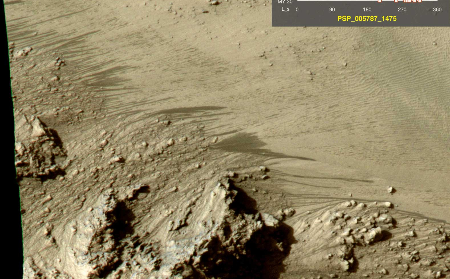 Aerial view of water flows on Mars.