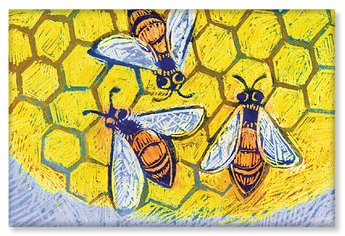 An illustration of bees