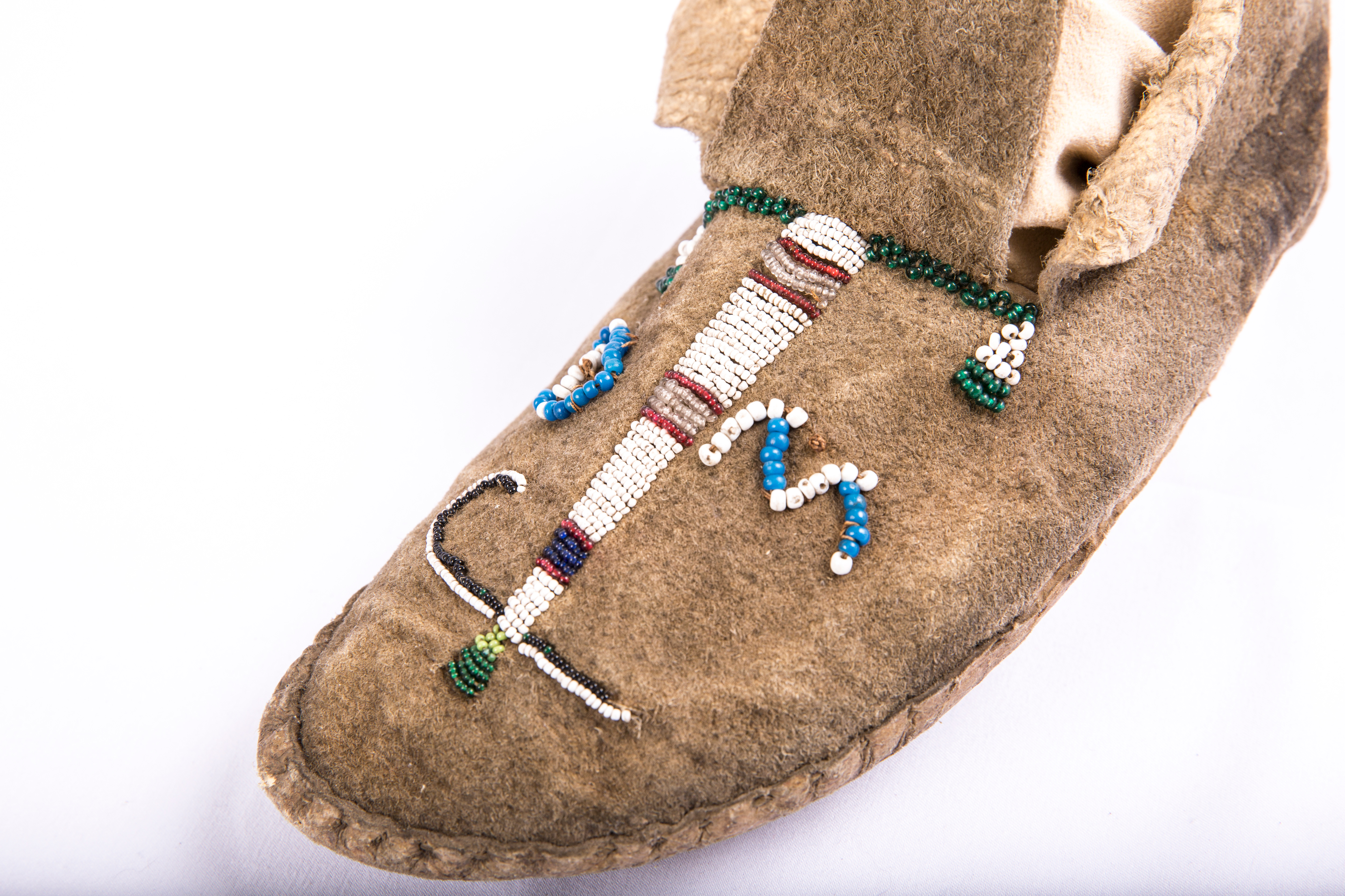 Close-up of beaded moccasin (left foot)