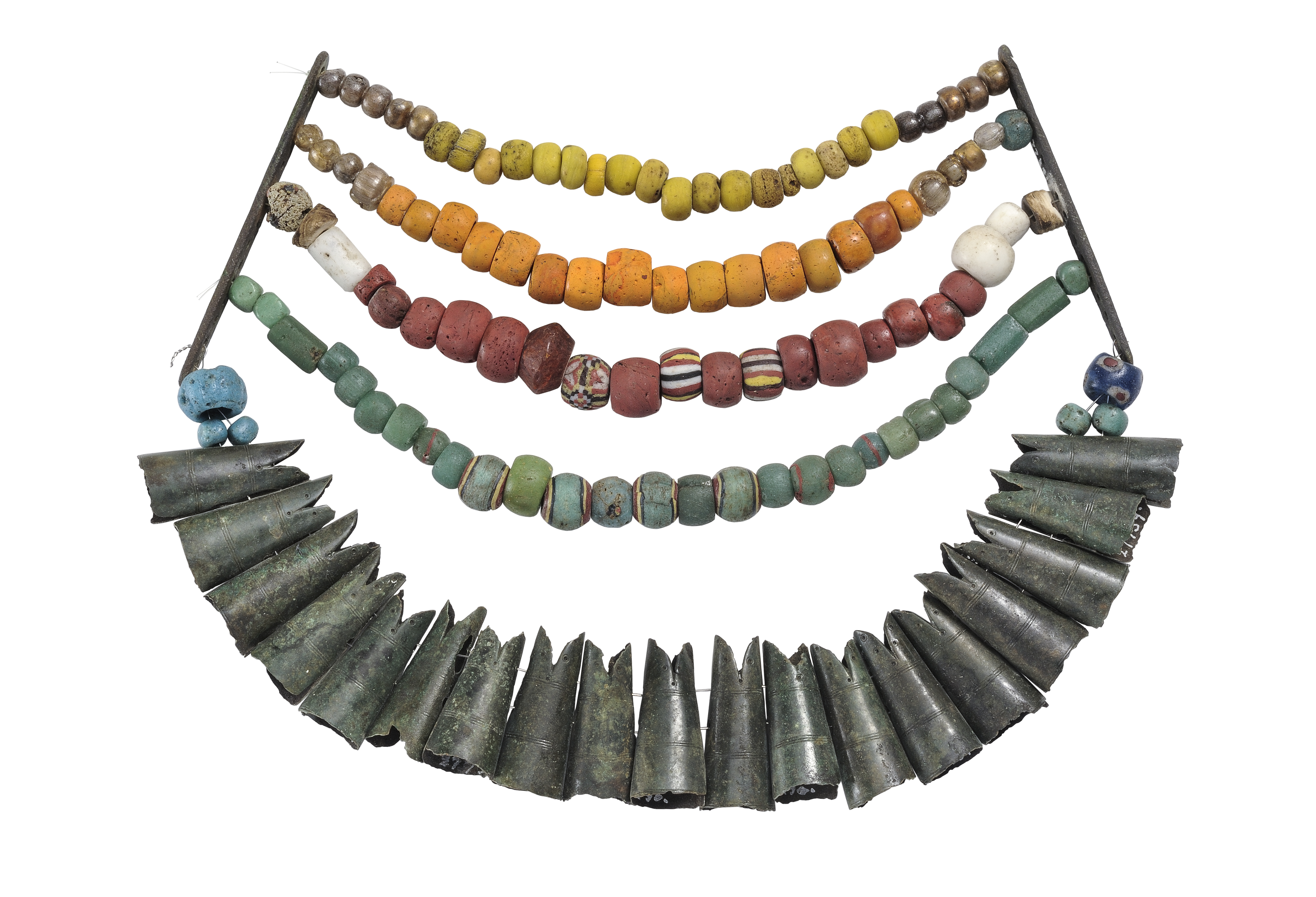 101 beads of varying colors and sizes distributed over four strings in a set with 19 fishtail shaped pendants.