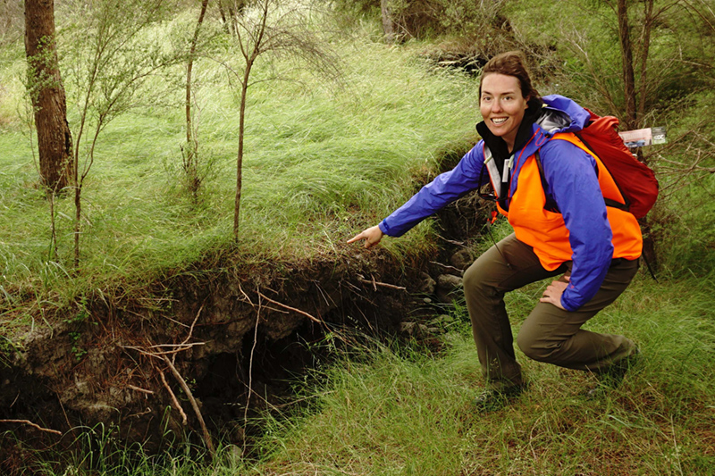 A geologist points to a fault line in a forest.