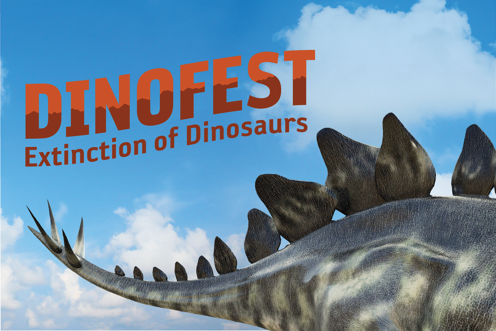 "dinofest themed image with the name of the event, dinofest, plus this year's subtitle ""the extinction of dinosaurs"""
