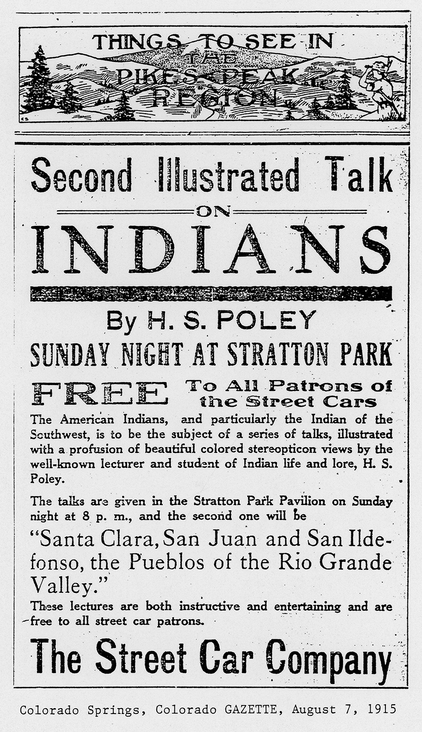 "A newspaper clipping titled ""Second Illustrated Talk on Indians."""