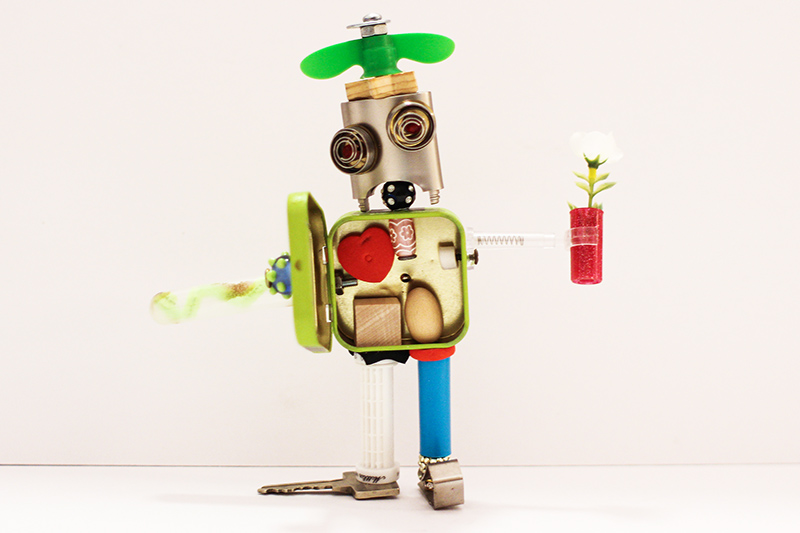 A model robot made of recycled materials