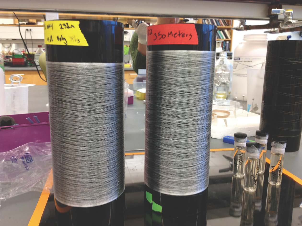 "These reels contain ""synthetic"" spider silk fibers spun from the spider silk proteins produced by Saanen goats."