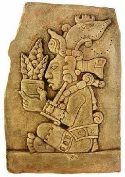 A Maya stone carving of the Maize God.