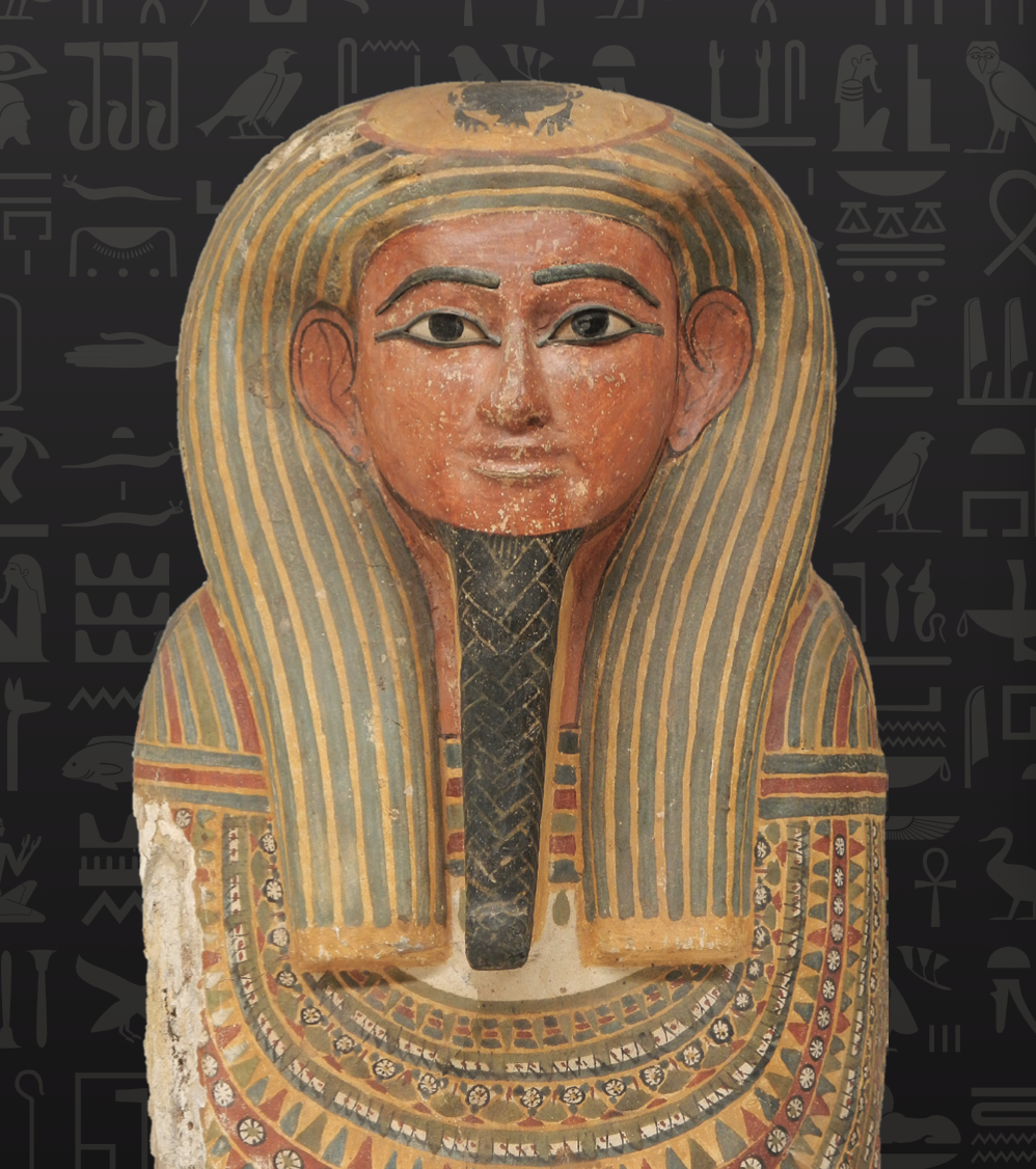 image of an ancient Egyptian as captured in a decorated funeral mask.