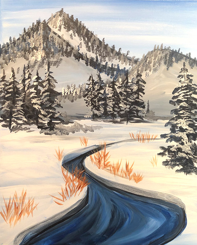 A painting of a winter mountain scene.