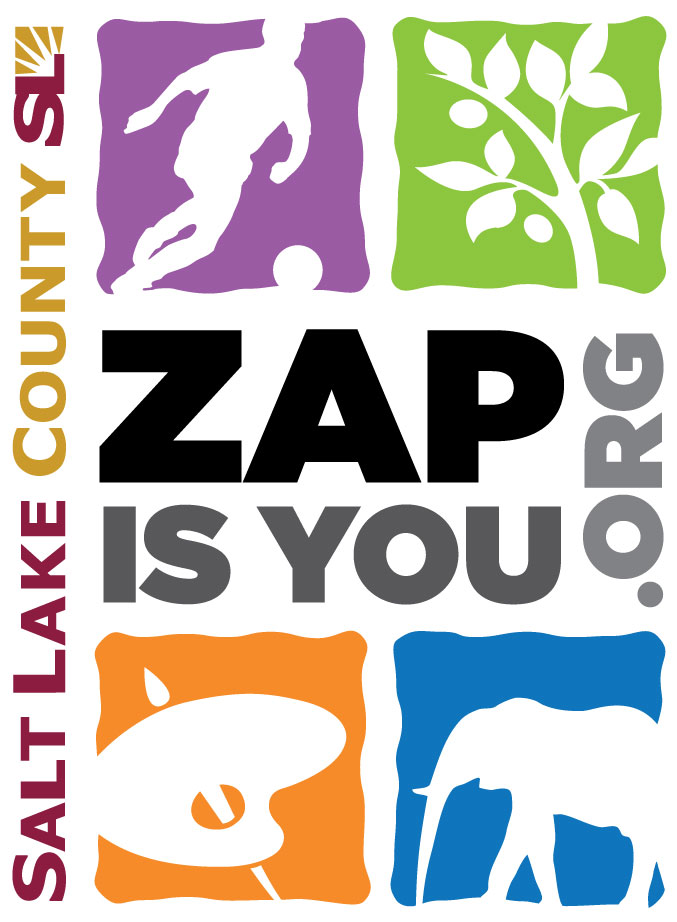Logo of the Salt Lake County Zoo, Arts, and Parks Program (ZAP).