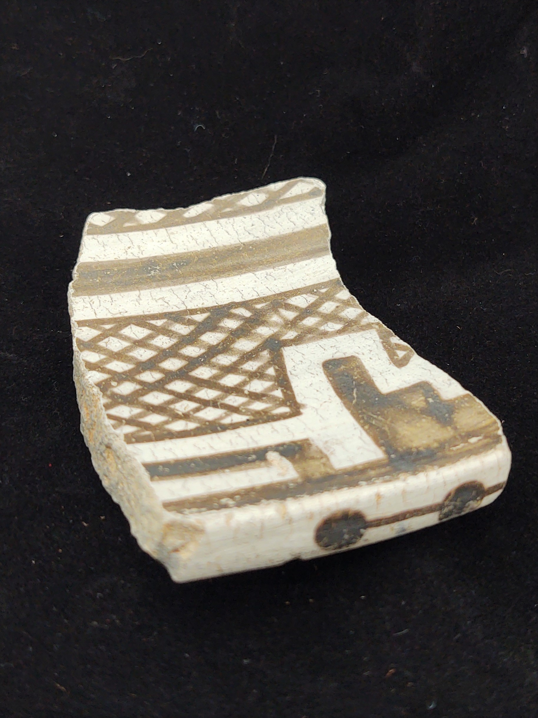 A black and white pottery sherd