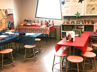 room at museum set for a birthday party