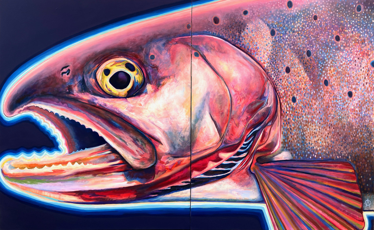 pink drawing of cutthroat trout