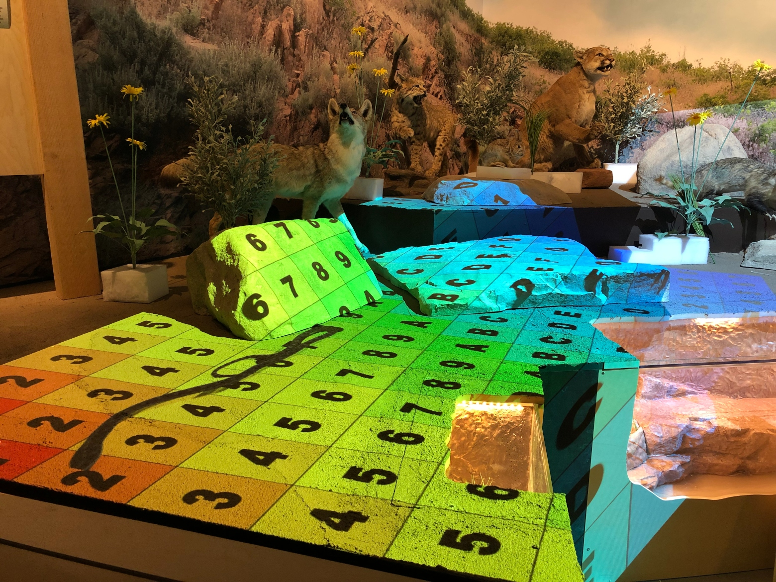 An image of a Salt Lake City foothill diorama, showing numbered squares used to plan a projection map.