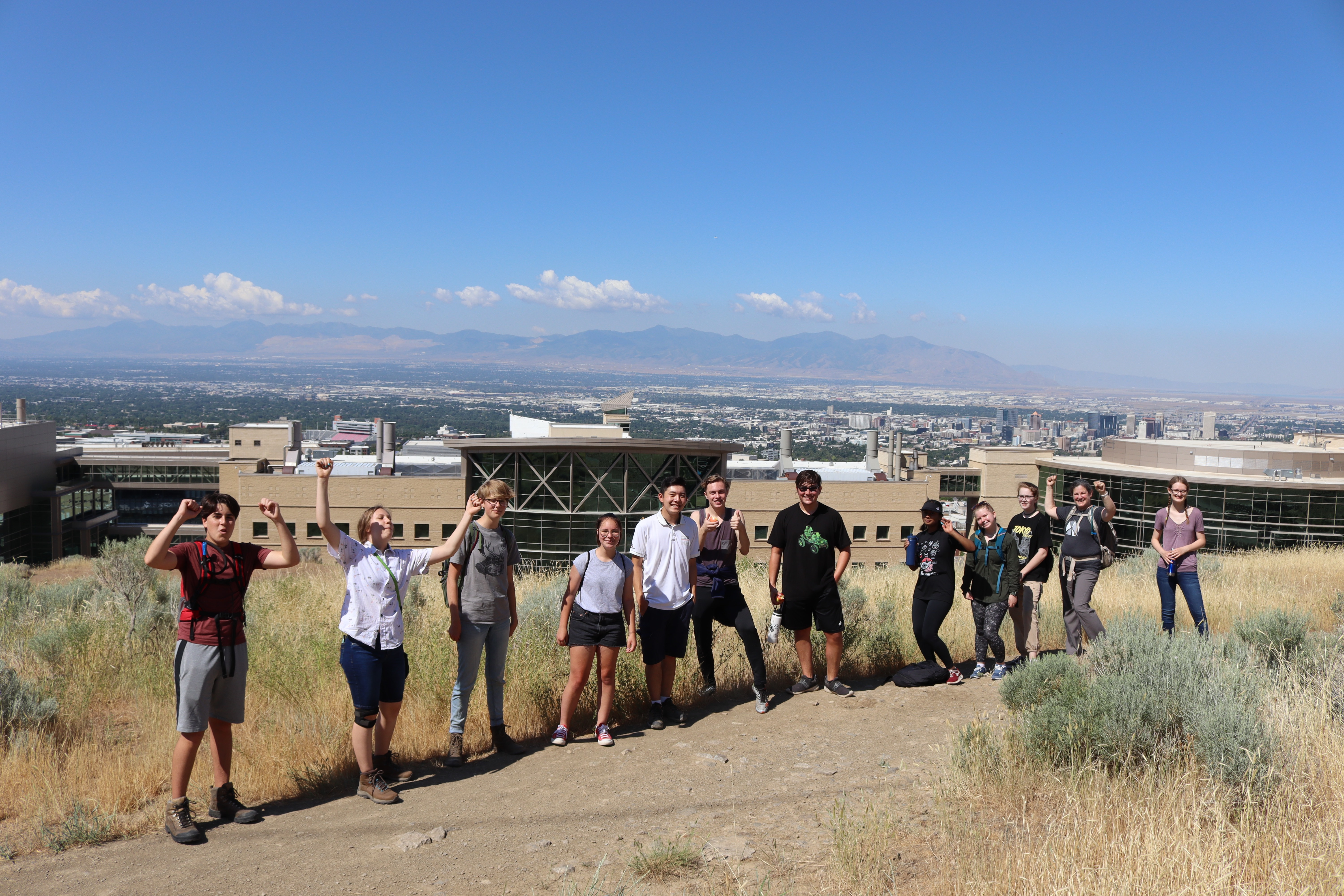 Teens posing on a hike on the Bonneville Shoreline Trail