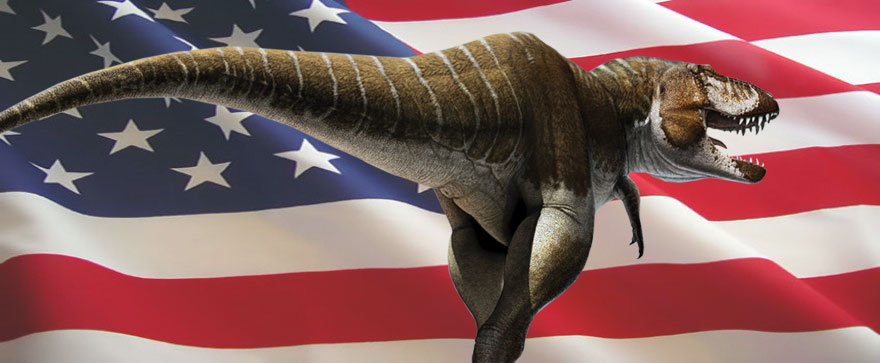 image of Lythronax with American flag. Lythronax is a tyrannosaur that's only been found in Utah.