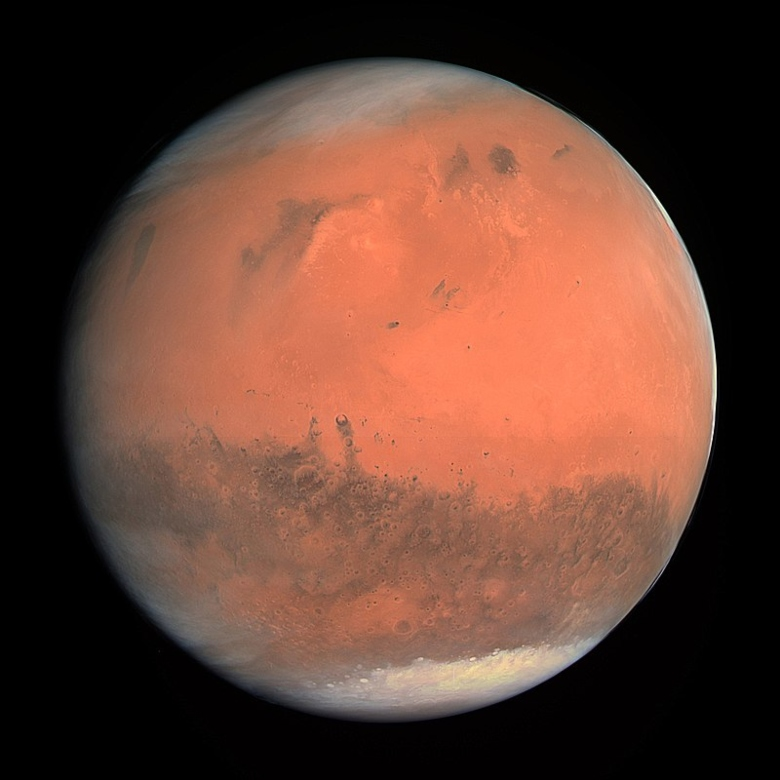 A view of Mars showing the ice cap to the south.