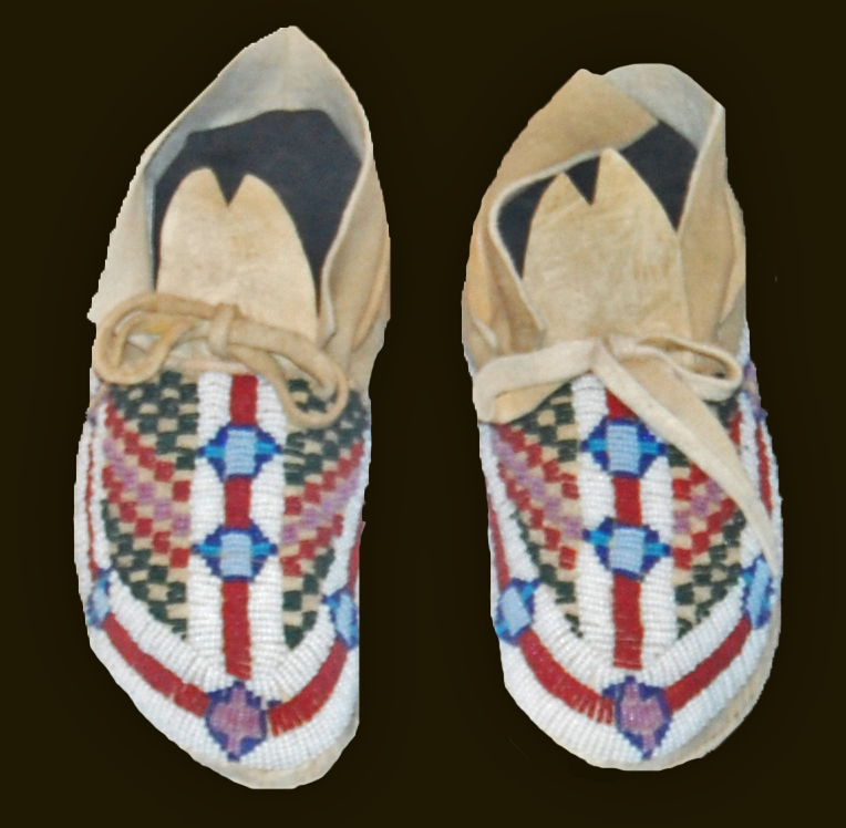 A pair of beaded moccasins.