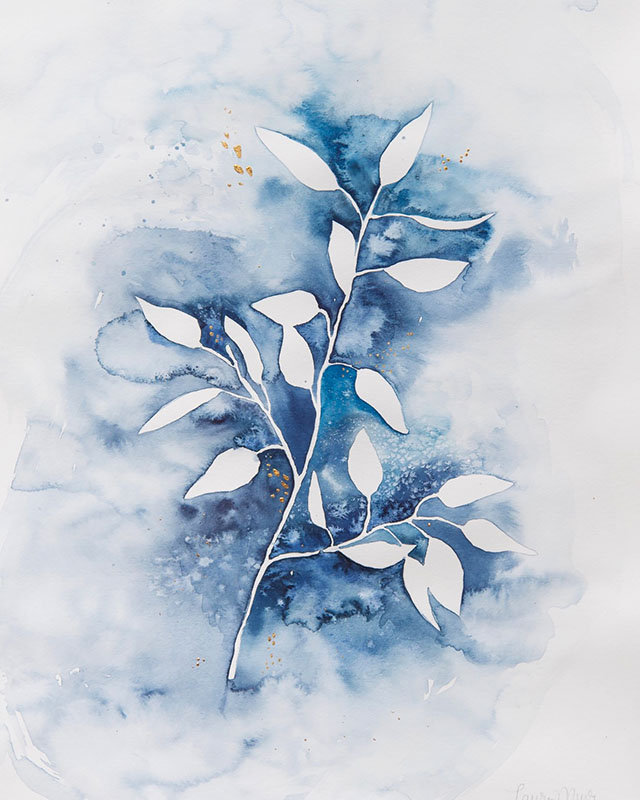 A watercolor painting outlining leaves with blue paint.