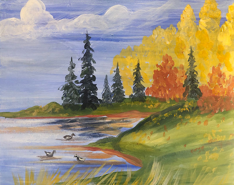 A painting of trees and a pond in fall.