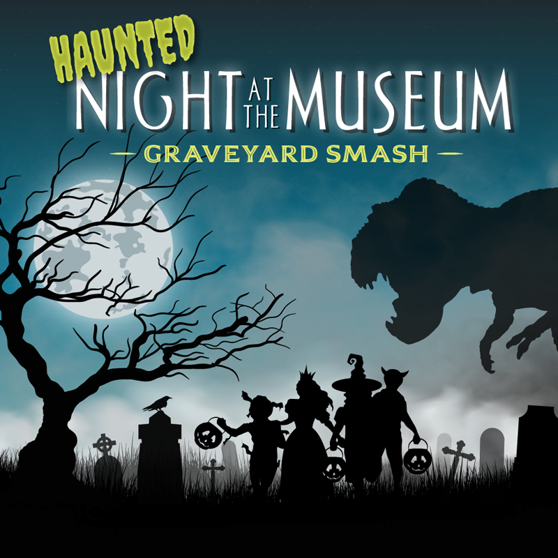 Haunted Night at the Museum graphic with children running through a graveyard.
