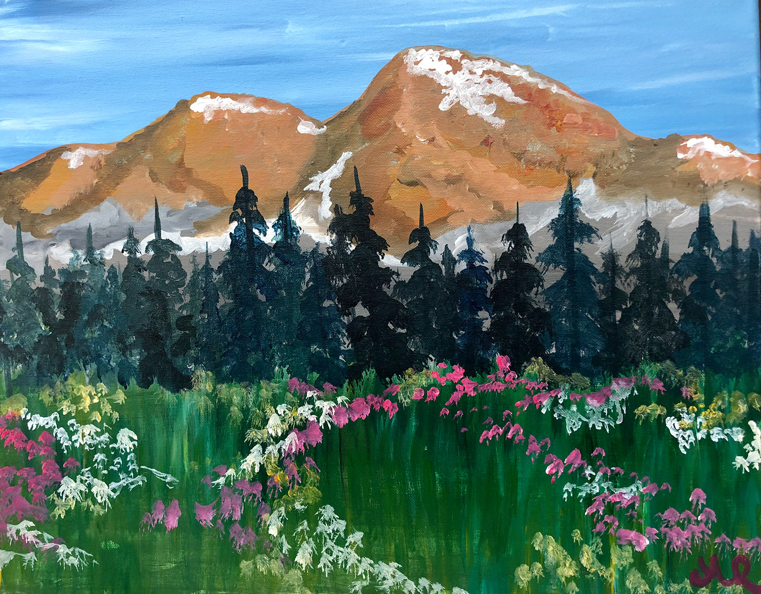 A painting of a mountain meadow with wildflowers.
