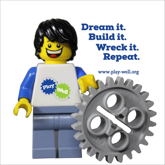 "A LEGO figure and the text ""Dream it. Build it. Wreck it. Repeat."""