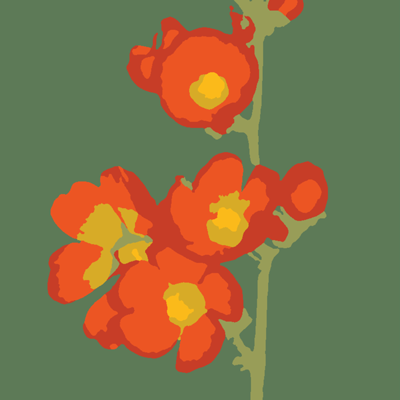 A painting of a flower.
