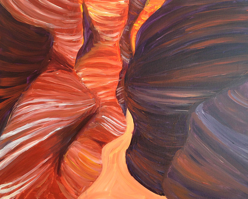 A painting of Utah's slot canyons