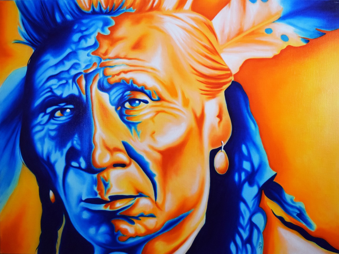 Colorful portrait of traditional Native American male