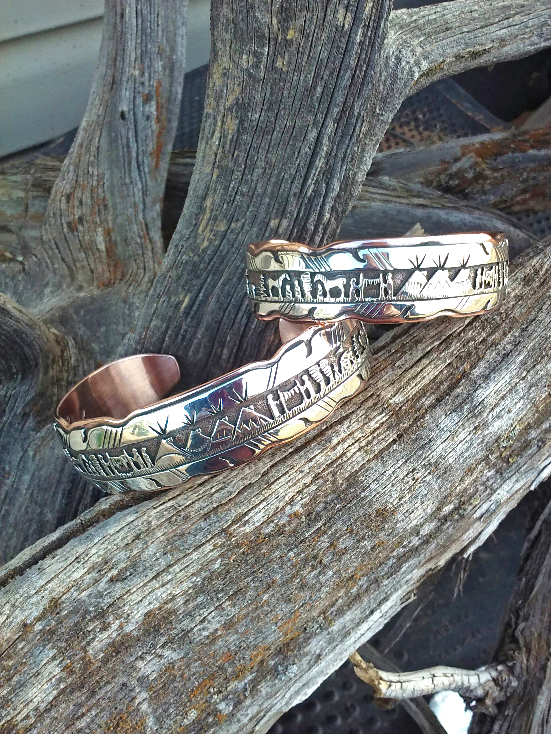 Sterling silver and copper bracelets
