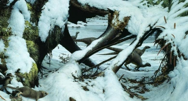 A pair of small, two-legged, beaked dinosaurs move through a tangled forest covered in snow.