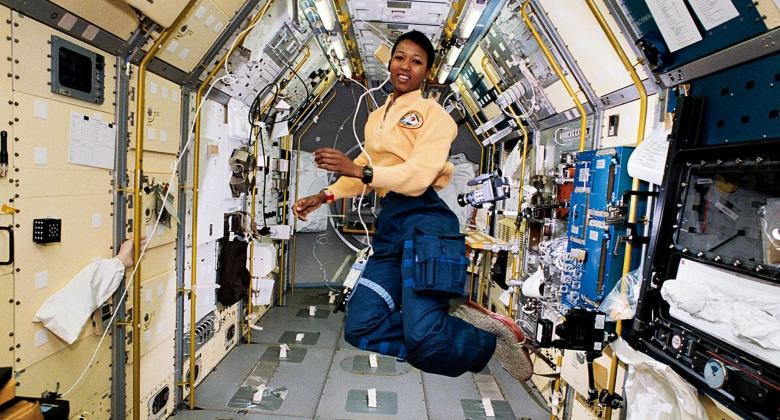 Astronaut Mae Jemison floats inside the module of Spacelab Japan.