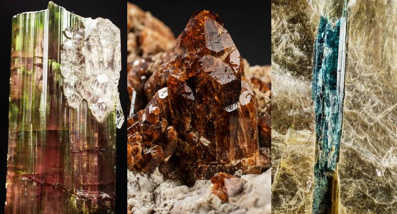 Various specimens from the tourmaline mineral family.