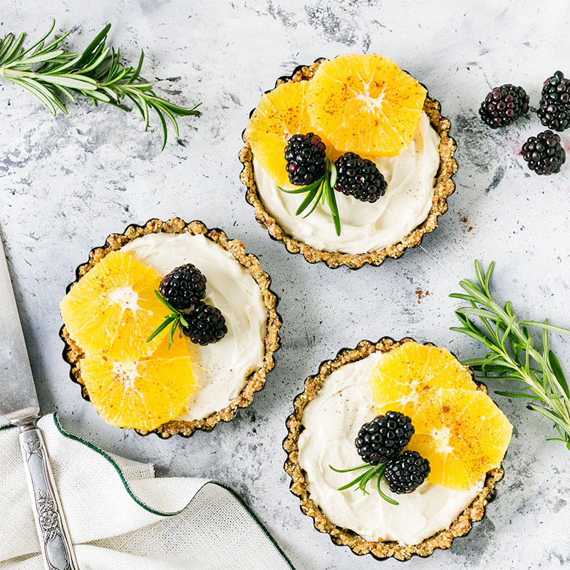 Tarts with fruit.